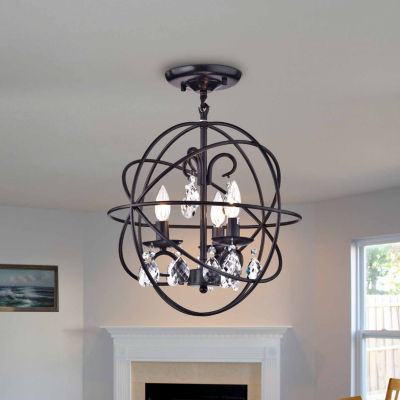 Rosanna Black-finish Metal 16-inch Crystal Pendant Lamp