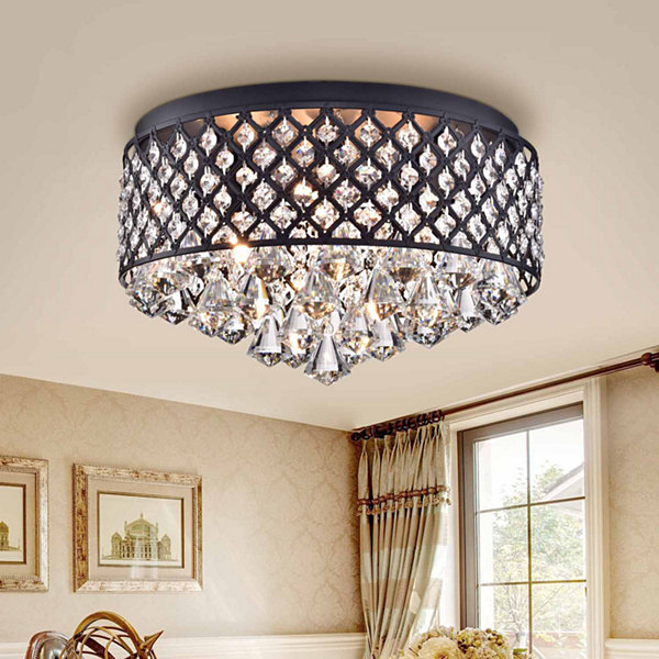Jepsen Antique Black Metal/ Crystal 15-inch Flush Mount Fixture