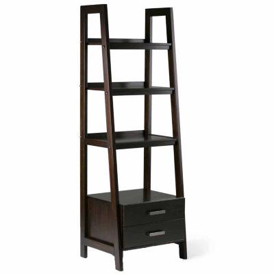 Sawhorse Ladder Shelf With Storage