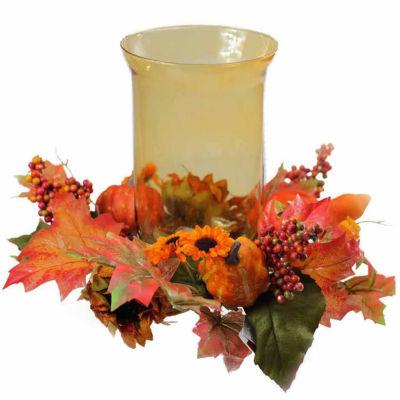 "10"" Autumn Harvest Sunflower and Pumpkin Thanksgiving Hurricane Pillar Candle Holder"""