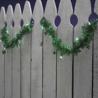 9' Pre-Lit Green Shamrock St. Patrick's Day TinselGarland - Green Lights