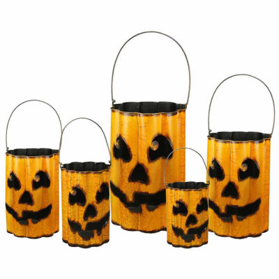 Set Of 5 Distressed Metal Nesting Jack 'O Lantern Containers