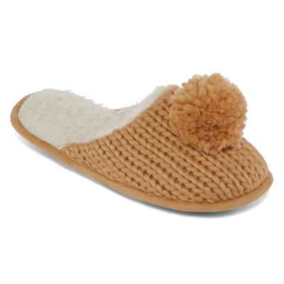 Cuddl Duds Chunky Knit Scuff Slip-On Slippers