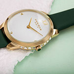 Akribos XXIV Set With Swarovski Crystals Womens Diamond Accent Green Leather Strap Watch-A-1059gn
