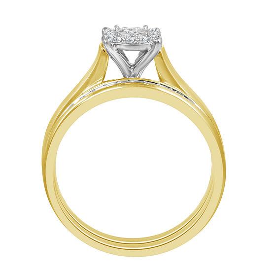 Womens 1/5 CT. T.W. Genuine White Diamond 10K Gold Bridal Set