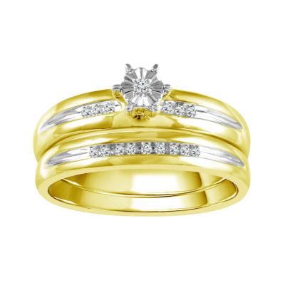 Womens Genuine White Diamond 10K Gold Bridal Set