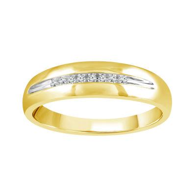Mens Genuine White Diamond 10K Gold Wedding Band