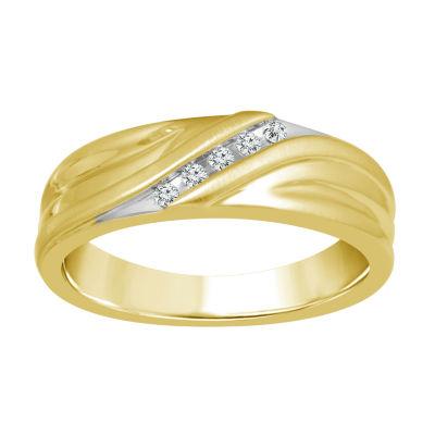 Mens Diamond Accent Genuine Yellow Diamond 10K Gold Wedding Band