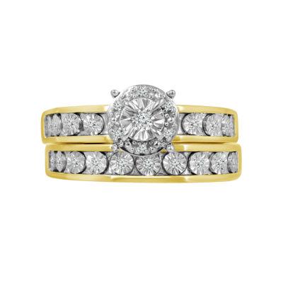 Womens 1/7 CT. T.W. Genuine White Diamond 10K Gold Bridal Set