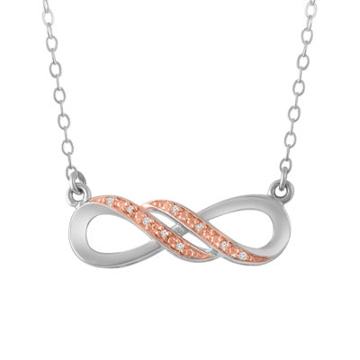 Womens Diamond Accent Genuine White Diamond 10K Rose Gold Over Silver Sterling Silver Infinity Pendant Necklace