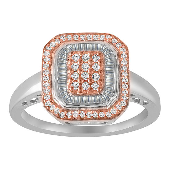 Womens 1/3 CT. T.W. Genuine White Diamond 10K Rose Gold Over Silver Sterling Silver Cocktail Ring