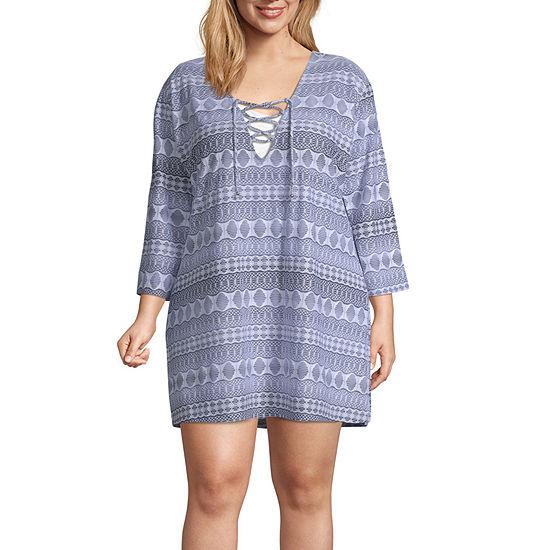 Porto Cruz Geometric Swimsuit Cover-Up Dress-Plus