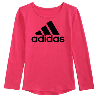 adidas Long Sleeve Scoop Neck T-Shirt-Preschool Girls