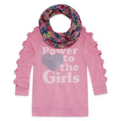 ARIZONA OPEN SLEEVE GRAPHIC TOP WITH SCARF - GIRLS' 4-16 & PLUS