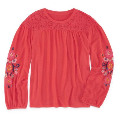 Arizona Embroidered Long Sleeve Peasant Top - Girls' 4-16 & Plus