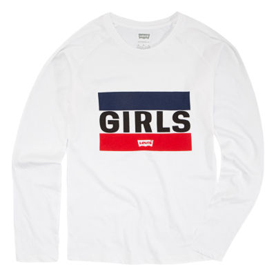Levi's L/S Graphic Knit Top Girls Round Neck Long Sleeve Graphic T-Shirt-Big Kid