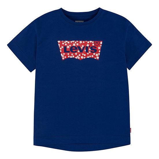 Levi's Girls Round Neck Short Sleeve T-Shirt-Big Kid
