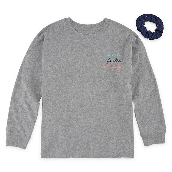Xersion Long Sleeve Graphic T-shirt w/Scrunchie - Girls' 4-16 & Plus