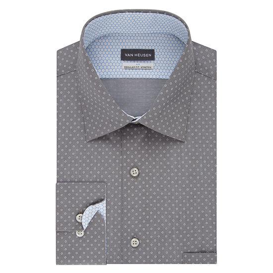 Van Heusen Air Stretch Reg Long Sleeve Broadcloth Circles Dress Shirt