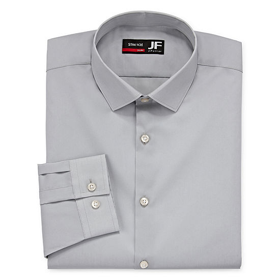 435f1ac472 JF J.Ferrar Easy-Care Coolmax Mens Point Collar Long Sleeve Stretch Cooling  Dress Shirt