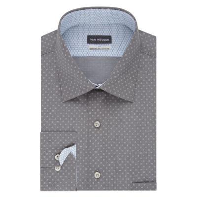 Van Heusen Air Stretch Long Sleeve Broadcloth Circles Dress Shirt- Big And Tall
