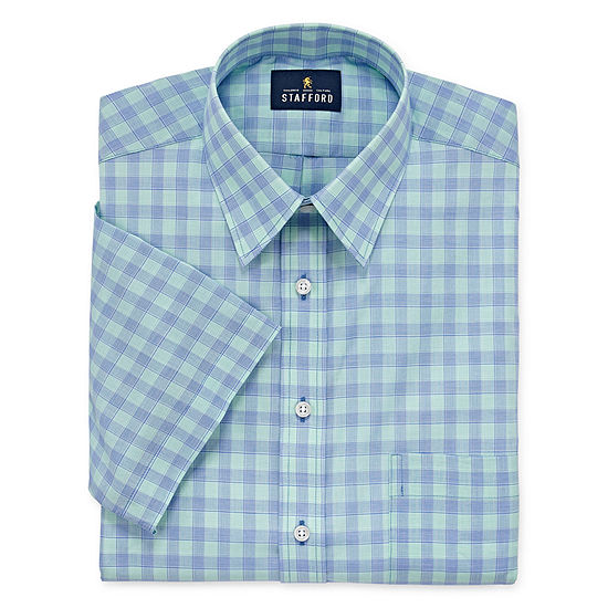 Stafford Travel Easy Care Broadcloth Short Sleeve Big And Tall Mens Point Collar Short Sleeve Stretch Dress Shirt
