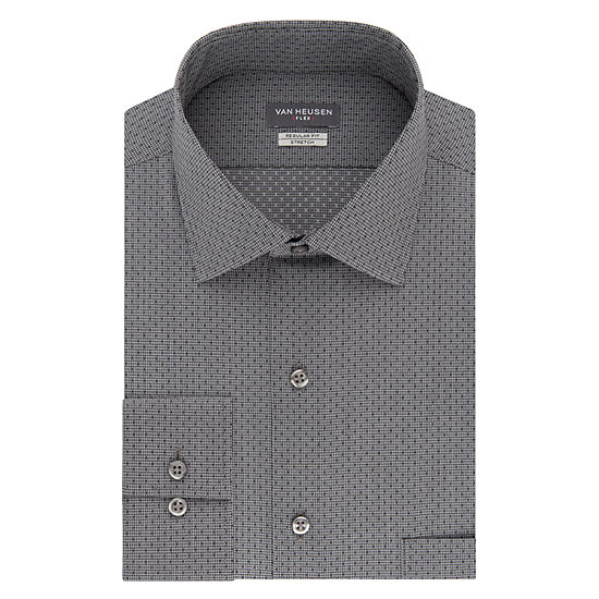 Van Heusen Flex Collar Reg Stretch Mens Point Collar Long Sleeve Wrinkle Free Stretch Dress Shirt