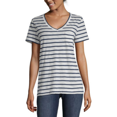 Peyton & Parker-Womens V Neck Short Sleeve T-Shirt