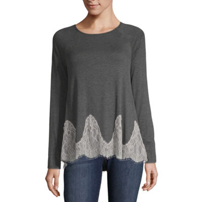Rewind Long Sleeve Round Neck French Terry Blouse-Juniors