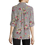 by&by-Juniors Womens 3/4 Sleeve Relaxed Fit Button-Front Shirt