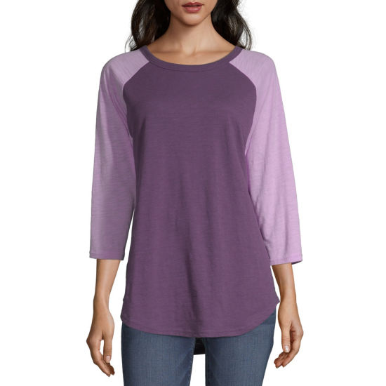Flirtitude-Womens Crew Neck Long Sleeve T-Shirt Juniors