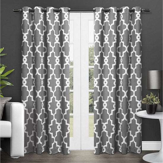 Exclusive Home Curtains Ironwork Energy Saving Blackout Grommet-Top Set of 2 Curtain Panel