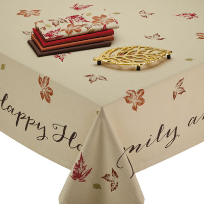 Design Imports Rustic Leaves Print Tablecloth