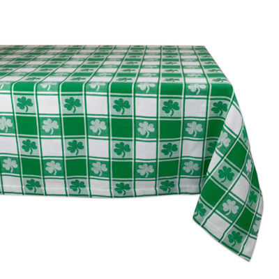 Design Imports Woven Check Hearts Tablecloth