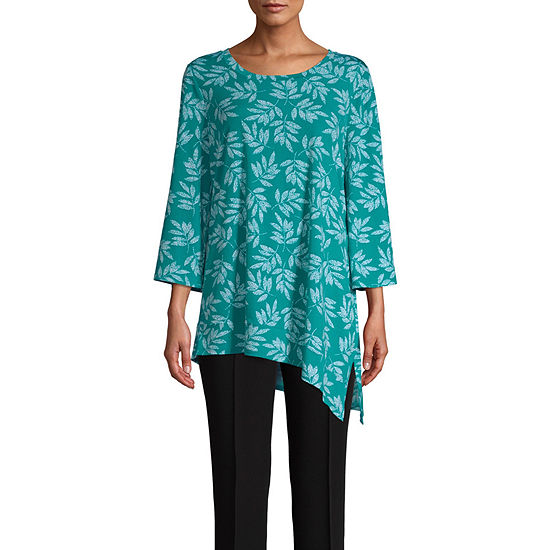 East 5th Womens Round Neck 3 4 Sleeve Tunic Top