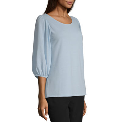 Worthington Womens Round Neck 3/4 Sleeve Knit Blouse