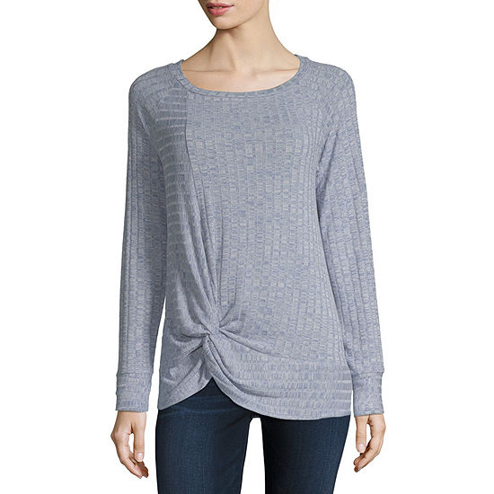 Ana Womens Round Neck Long Sleeve Knit Blouse