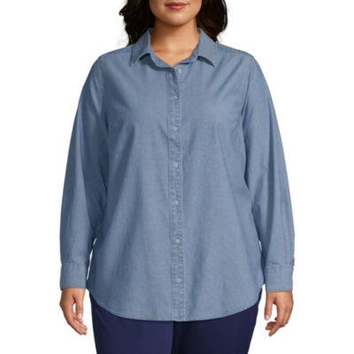 Liz Claiborne Simply Long Sleeve Boyfriend Shirt - Plus