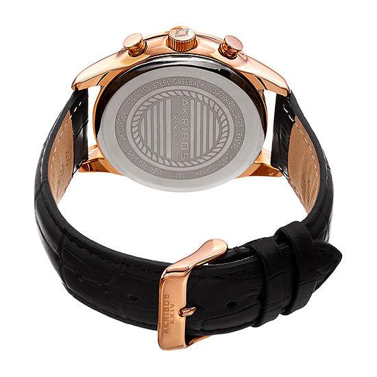Akribos XXIV Mens Chronograph Black Leather Strap Watch-A-1004rgbk