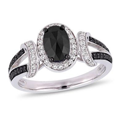 Womens 1 CT. T.W. Genuine Black Diamond 10K White Gold Cocktail Ring