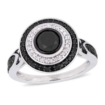 Womens 1 5/8 CT. T.W. Genuine Black Diamond 10K White Gold Cocktail Ring