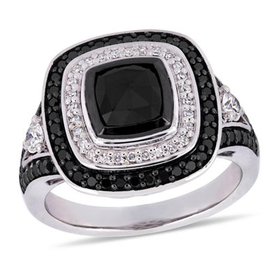 Womens 1 7/8 CT. T.W. Genuine Black Diamond 10K White Gold Cocktail Ring