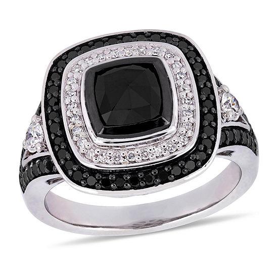 Womens 1 7/8 CT. T.W. Genuine Black Diamond 10K White Gold Cocktail Ring