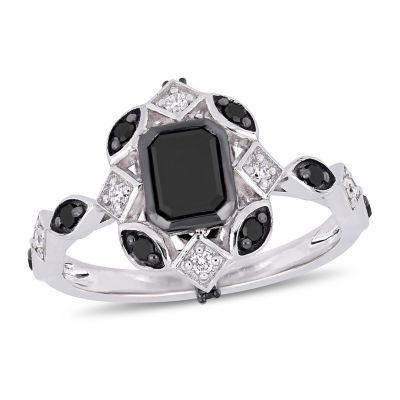 Womens 1 1/4 CT. T.W. Genuine Black Diamond 10K White Gold Cocktail Ring