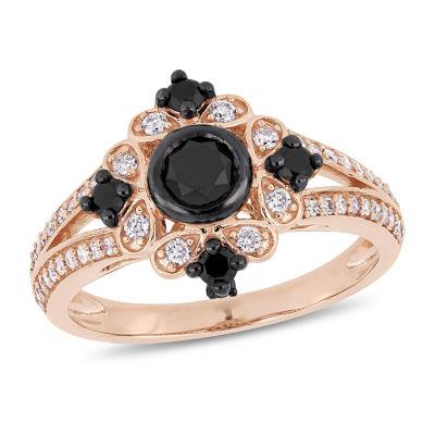 Womens 1 CT. T.W. Genuine Black Diamond 10K Rose Gold Cocktail Ring