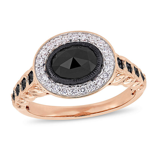 Womens 1 1/4 CT. T.W. Genuine Black Diamond 10K Rose Gold Cocktail Ring