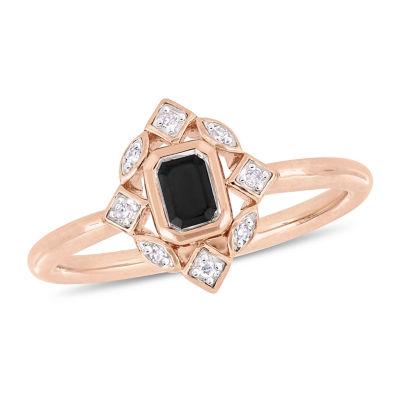Womens 3/8 CT. T.W. Genuine Black Diamond 10K Rose Gold Cocktail Ring