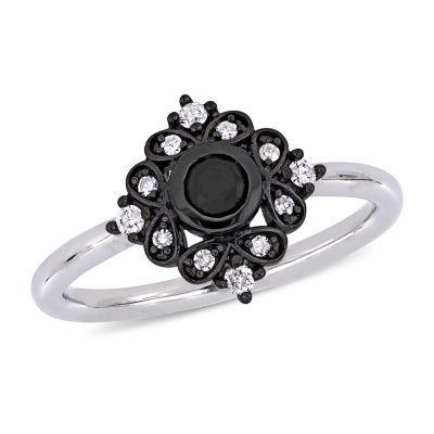 Womens 1/3 CT. T.W. Genuine Black Diamond 10K White Gold Cocktail Ring