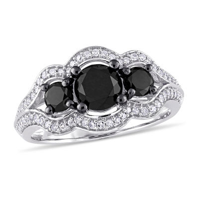 Womens 1 3/4 CT. T.W. Genuine Black Diamond 10K White Gold Cocktail Ring