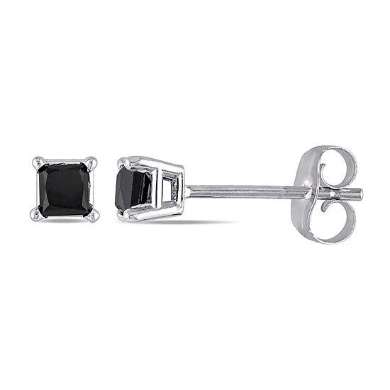 1 CT. T.W. Genuine Black Diamond 10K White Gold 3.4mm Stud Earrings